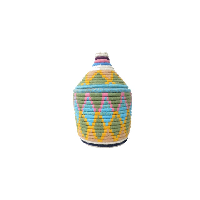 'Easter Dye' Moroccan Woven Bread Basket For Sale