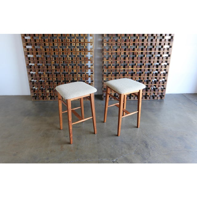 Mid-Century Modern Kipp Stewart for Glenn of California Walnut Stools - a Pair For Sale - Image 10 of 11