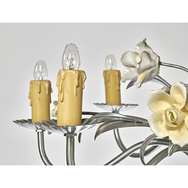 Mid-Century Modern Mid Century Modern Italian Tole Floral Eight Light Chandelier For Sale - Image 3 of 13