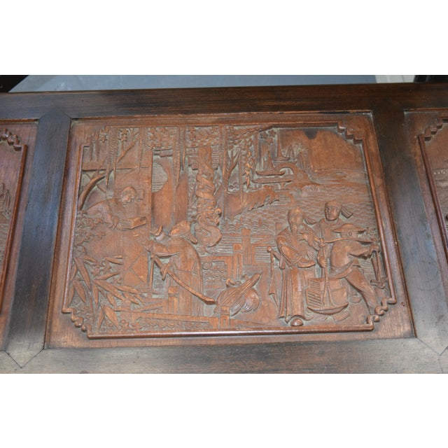 1950s 1950s Vintage Chinese Rosewood Hand Carved Camphor Interior Trunk For Sale - Image 5 of 9