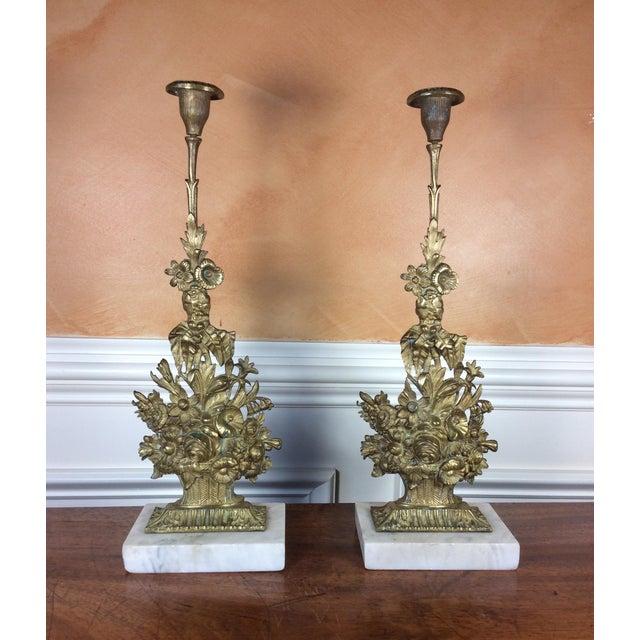 Art Nouveau Antique Victorian Candle Holders - A Pair For Sale - Image 3 of 5