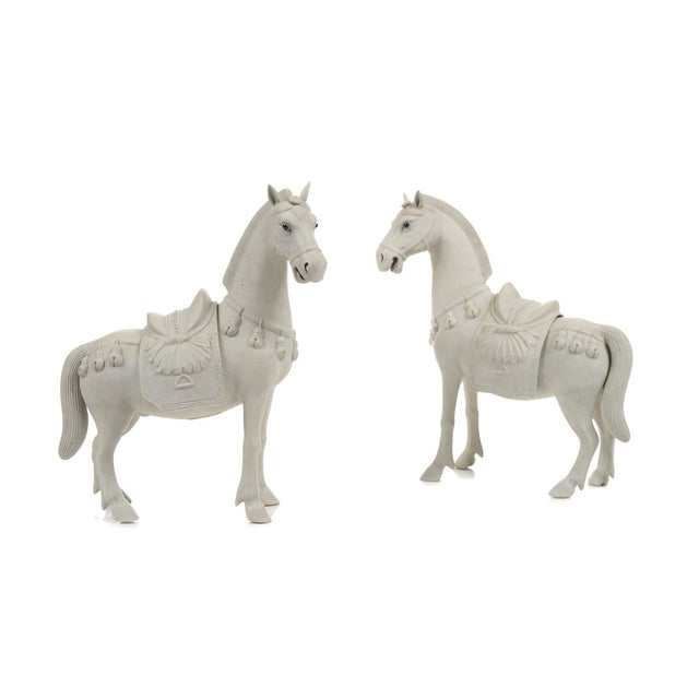 Rare Chinese Bisque Porcelain Horse Figurines - 2 - Image 1 of 9