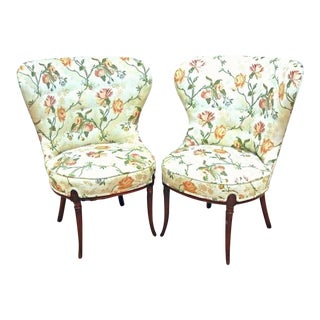 Fireside Fan Back Floral Side Chairs - A Pair For Sale