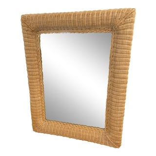 Vintage Natural Woven Wicker Mirror For Sale