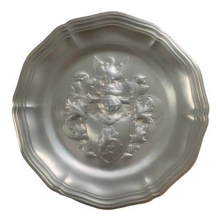 Vintage German Pewter Wall Plate by Frieling-Zinn For Sale