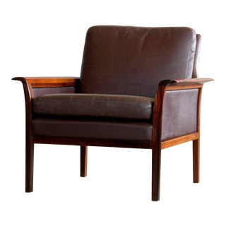 Hans Olsen Easy Chair in Cordovan Leather and Rosewood for Vatne, Norway For Sale