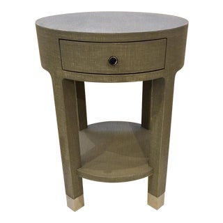Bungalow Gray Washed Linen One Drawer Side Table For Sale