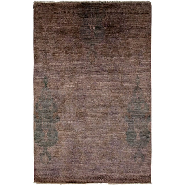 """Moroccan Hand Knotted Area Rug - 4' X 6'1"""" - Image 1 of 3"""