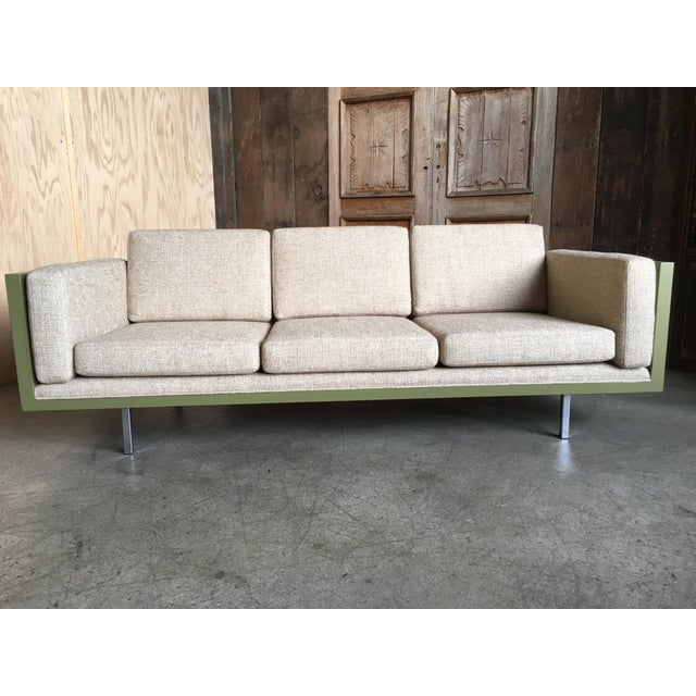 Milo Baughman for Thayer Coggin Green Leather Sofa
