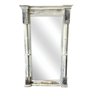 Scandinavian Rustic Painted Shabby Chic Floor Mirror For Sale