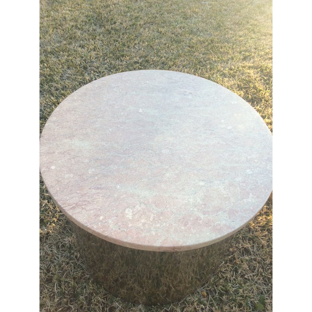 Gold 1970s Italian Paul Mayen Travertine Top Minimalist Cylinder Tables - a Pair For Sale - Image 8 of 9