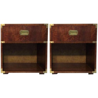Vintage Henredon Campaign Nightstands - a Pair