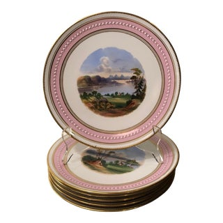 Antique 19c Aynsley Pink Porcelain Hand Painted Scenic Cabinet Plate - Set of 6 For Sale