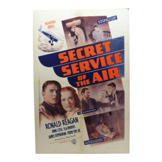 "Vintage ""Secret Service of the Air"" Ronald Reagan Mounted Movie Poster For Sale"