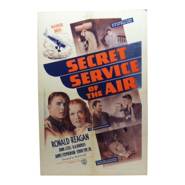 """Vintage """"Secret Service of the Air"""" Ronald Reagan Mounted Movie Poster For Sale"""