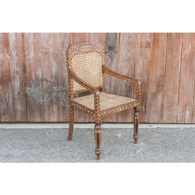 2010s Bone Inlay Colonial Arm Chairs, Pair For Sale - Image 5 of 11
