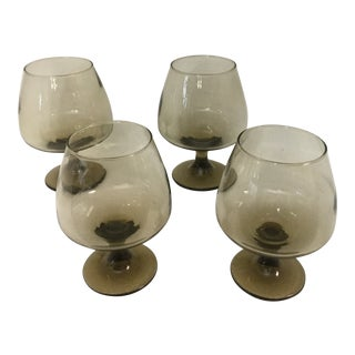 Vintage Cognac Foot Goblet Crystal Amber Glasses - Set of 4 For Sale
