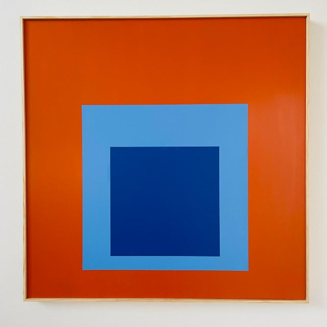 Josef Albers Contemporary Minimalist Painting, Framed For Sale - Image 4 of 4