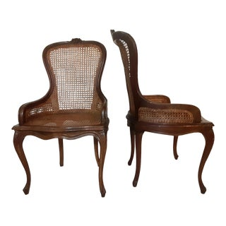 Early 20th C. Antique Louis XV Style Wood Caned Chairs - a Pair For Sale