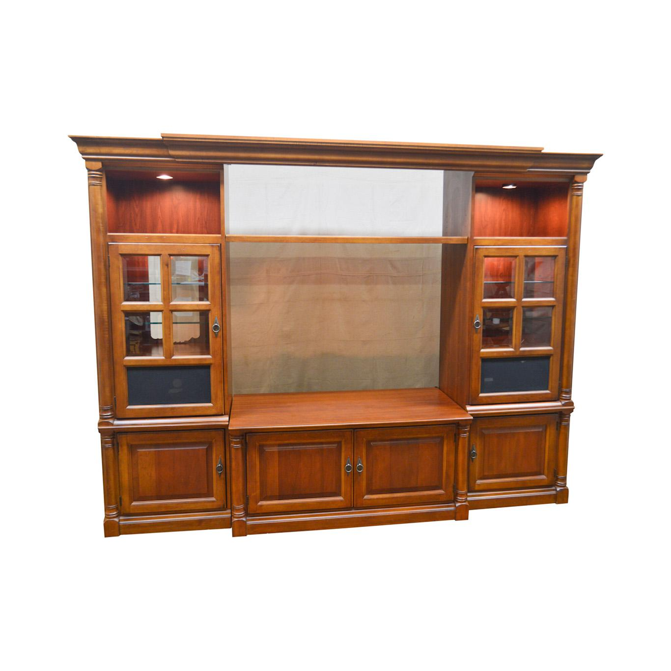 Hooker Furniture Large Cherry Entertainment Tv Unit W/ Curio Display  Cabinets For Sale   Image