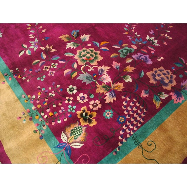 """1920s Chinese Art Deco Rug - 9'x11'8"""" For Sale - Image 4 of 9"""