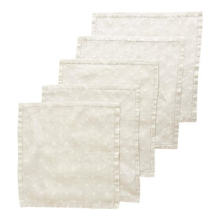 1930s Antique Embroidered Table Linens Set - Tablecloth & 5 Dinner Napkins For Sale