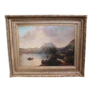Antique Continental Landscape Oil Painting For Sale