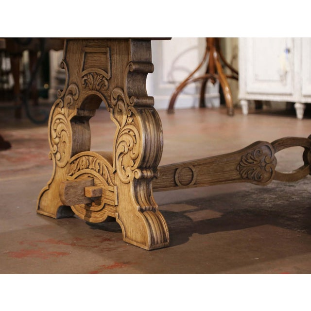 Early 20th Century French Carved Bleached Oak Marquetry Trestle Dining Table For Sale - Image 12 of 13
