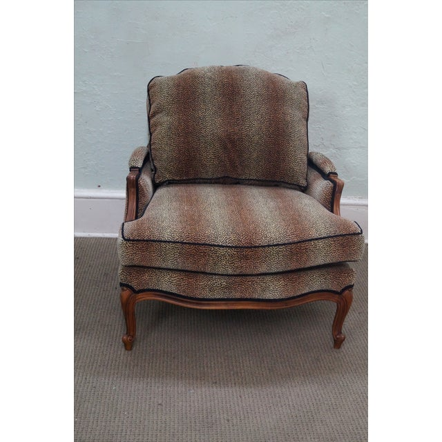 Brown Ethan Allen French Louis XV Cheetah Print Chair For Sale - Image 8 of 10