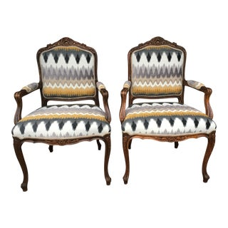 Vintage Reupholstered Armchairs - A Pair