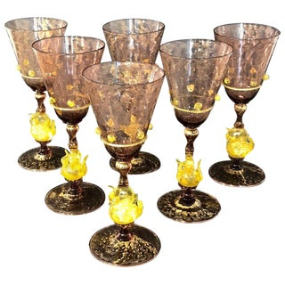 Six Exquisite Amethyst and Gold Infused Murano Swan Water Goblets by Salviati For Sale