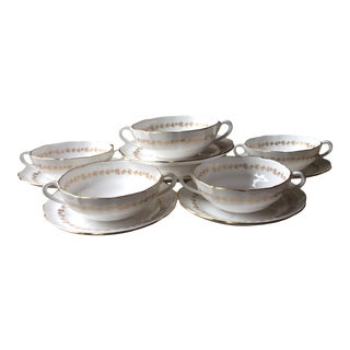 Early 20th Century Spode Gold and White Cream Soup Bowls/Under Plates - Set for 6 For Sale