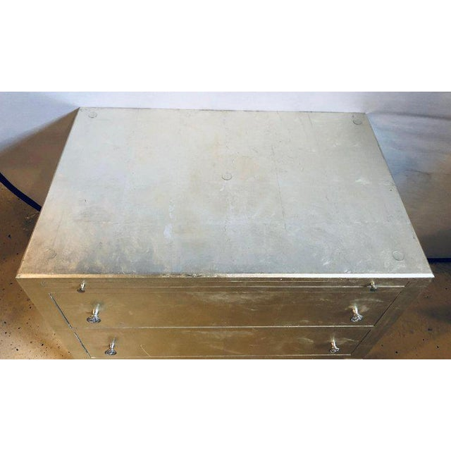 Silver Pair of Silver Gilt Commodes Chest of Drawers or Nightstands Mid-Century Modern For Sale - Image 8 of 12