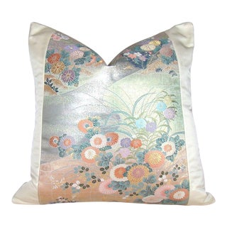 Vintage Floral Japanese Silk Obi Pillow Cover