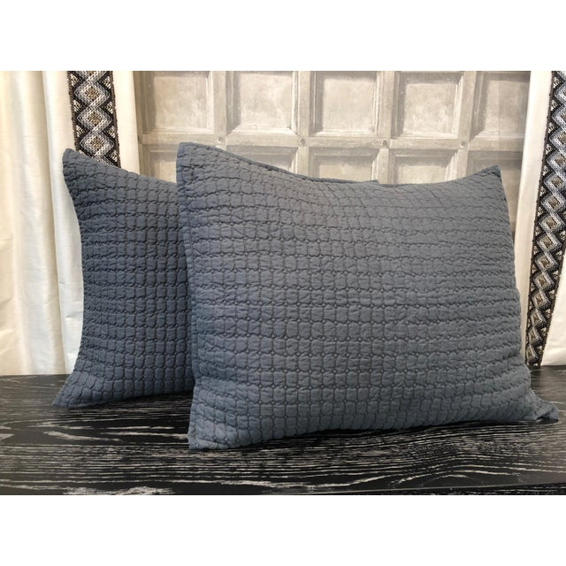 Blue Catalina Steel Blue Standard Shams - A Pair For Sale - Image 8 of 8