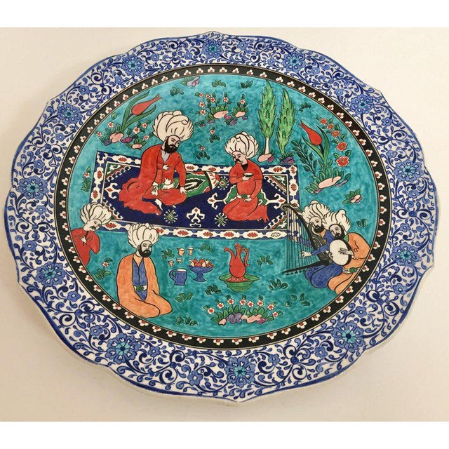 Large Turkish Ottoman Scene Polychrome Hand Painted Ceramic Plate Kutahya For Sale - Image 13 of 13