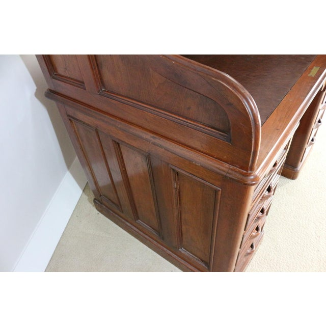 1850s Antique Walnut Bankers Desk - Image 8 of 11