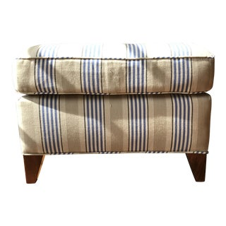Transitional Custom Striped Ottoman