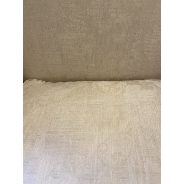 Damask Fabric Chair With Down Cushion and Mahogany Frame For Sale In Boston - Image 6 of 12