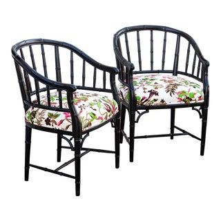 Hollywood Regency Faux Bamboo Barrel Chairs - a Pair For Sale