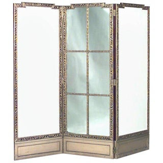 19th Century French Louis XVI Style Gilt Three-Fold Screen For Sale