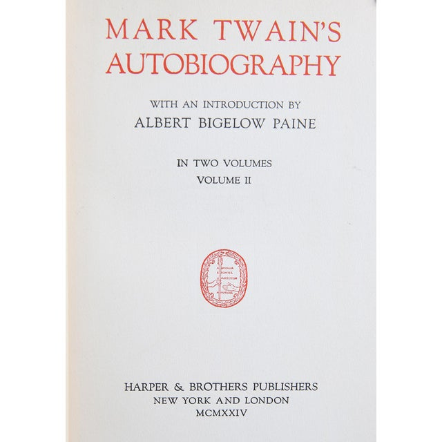 """Traditional 1924 """"Mark Twain's Autobiography 2 Vols."""" Collectible Book For Sale - Image 3 of 6"""