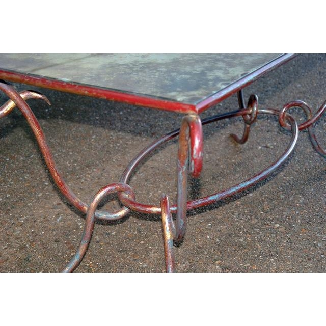Circa 1940 René Drouet Patinated Silvered Glass and Forged Steel Coffee Table. France - Image 5 of 6