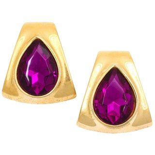 Large Goldtone Faux Amethyst Earrings For Sale