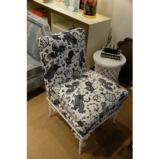 Hickory Chair Black & White Bamboo Side Chair in Quadrille Fabric Preview