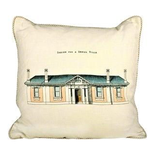 Design for a Small Villa Architecture Pillow For Sale