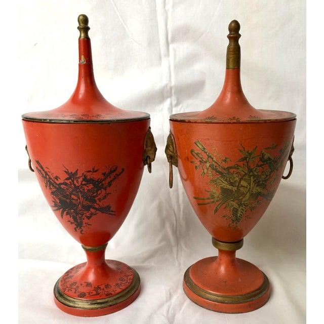 Italian Vintage, C.1950 Red Tole Lidded Urns, A-Set For Sale - Image 13 of 13