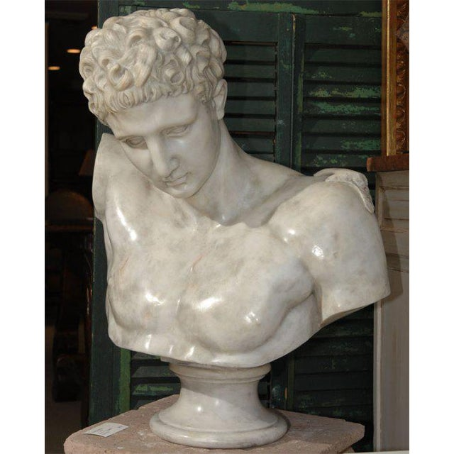 20th Century carved marble bust of Hermes. This sculpture is fairly recent and extremely heavy.