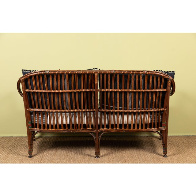 1920s Bent Wood Loveseat Settee With Injiri Upholstery For Sale In Los Angeles - Image 6 of 10