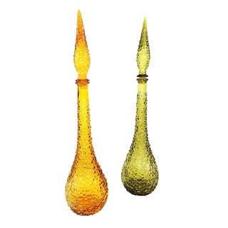 Mid Century Empoli Style Green & Amber Glass Genie Bottles-A Pair